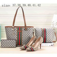 LV LOUIS VOITTON Women's new leather handbag and high heel four-piece F-KSPJ-BBDL Khaki bag