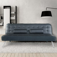 Black 3-Seat Eco Leather Tufted Sofa Bed with 2 Cushsions