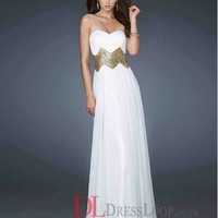 A-Line Sweetheart Chiffon White Long Prom Dress/Evening Gowns With Beading VTC026