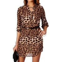 Leopard Mock Collar Belted Tunic