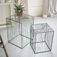Nesting Wire Wood Grain Accent Tables - Set of 2 | Accent Tables, Plant Stand
