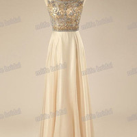 Champagne Formal Evening Gowns Long Dress Party Evening Elegant Beadings Celebrity Dresses 8th Grade Prom Dresses Long Homecoming Dresses