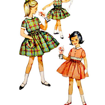 Vintage 60s Girls Dress Jacket Cummerbund Pattern Back Button Jackets Full Skirt Sleeveless Simplicity 4066 Sewing Patterns Size 4 Toddlers