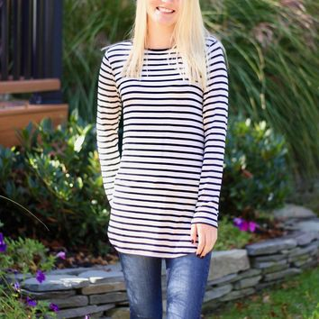 Striped Top in Oatmeal