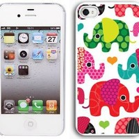 Apple iPhone 5 White 5W1 Hard Back Case Cover Colorful Elephants Hearts