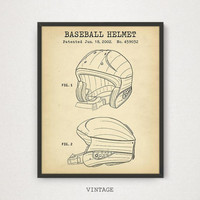 Baseball Helmet Patent Art, Digital Download Blueprint Printable Art, Baseball Fan Gift, Nursery Decor, Sports Room Wall Art Baseball League