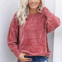Share The Warmth Rose Chenille Sweater