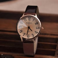 Big Dial Womens Leather Wrist Watch