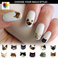 kitten, cat, puppy, 100 Waterslide stickers Decal Nail, decal finish for your nails with a crystal clear background, three size