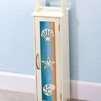 Beach Ocean Shell Decor Toilet Paper Storage Cabinet Bathroom Pastel Wooden NEW