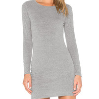 Grey Long Sleeve Bodycon Mini Dress
