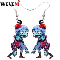 WEVENI Acrylic Halloween Walking Female Zombie Earrings Cute Long Dangle Drop Anime Charms Jewelry For Girl Women Brincos Teens