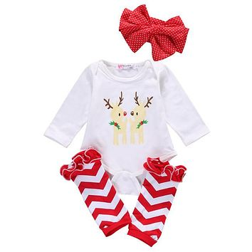 2016 Christmas Stuff Baby Girls Infant Outfit Boys Bodysuits Ruffle Leg Warmers Baby Girls Clothes Set