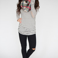 Elbow Patch Striped Tunic - Beige/Black