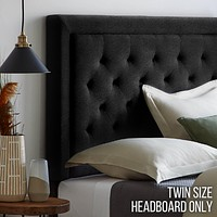 Upholstered Headboard with Diamond Tufting and Rectangle Bordered Edges, Twin, Black
