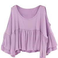 Purple Cutout Shoulder Pleated Tee