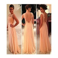 Sexy Backless Long Evening Party Ball Prom Gown Bridesmaid Dress (S)