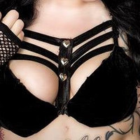 Black Cage Bra with Heart Studs