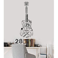Vinyl Wall Decal Guitar Music Musical Instrument Decor Sketch Stickers Unique Gift (034ig)