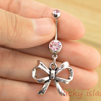 belly ring,little bow belly button rings,pink bow bellybutton jewelry,navel ring,body piercing,friendship bellyring