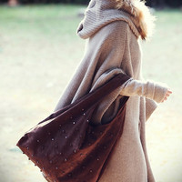 beige cape Raccoon Fur Collar Coat winter coat by colorfulday01
