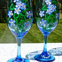 Painted Blue Wine Glasses With Wine Charms Ready To Personalize, Unique Gift Ideas