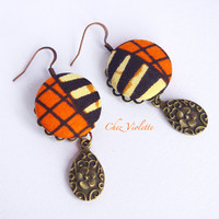Orange black earrings Ethnic earrings African Fabric earrings Bohemian earrings Tribal earrings