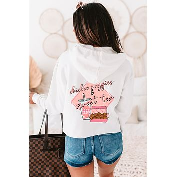 """""""Chickie Nuggies & Sweet Tea"""" Double-Sided Cropped Graphic Hoodie (White) - Print On Demand"""