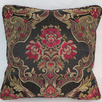 "Black Rose Floral Pillow 16""  Gold Red Pink Flowers Damask Brocade Tapestry Welted Cover and Insert Ready to Ship"