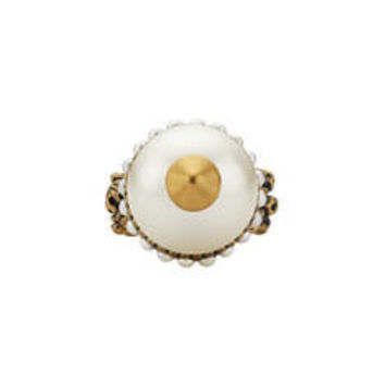 Gucci Textured ring with glass pearls