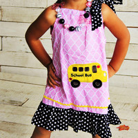 Girls Back to School Outfit, Back to School Dress, School Bus Outfit,  First Day of School Outfit, Toddler Preschool Outfit, Girls Dress
