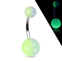 Glow In the Dark Surgical Stainless Steel Navel Ring Belly Button Ring Body Jewelry