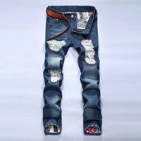 Ripped Holes Pants Slim Jeans [6541760771]