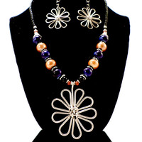 flower necklace and earrings silver plated made in Kenya  fair trade  brass jewelry for mom, gifts for mom African jewelry blue necklace tan