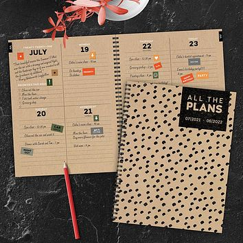 July 2021-June 2022 Dotted Kraft Large Daily Weekly Monthly Planner + Coordinating Planning Stickers
