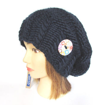 Slouchy beanie hat navy blue slouch hat chunky knit slouchy hat Irish knit accessories for women button warm winter hat wool christmas gift