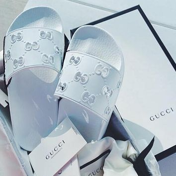 GUCCI Hot Sale Women Men Leisure Beach Sandals Slippers Shoes Hollow White