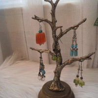 Vintage Metal and Wood Earring Tree ~ Display Stand ~ Ring Holder ~ Jewelry Tree