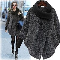 New Fashion Women Winter Jacket Solid Batwing Loose Warm Wool Blends Casual Turtleneck Long Coat Irregular Outerwear