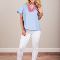 Safe With Me Top, Chambray