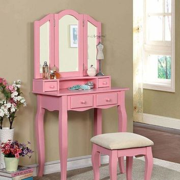 JANELLE Transitional Vanity, Pink By Casagear Home