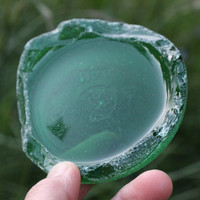 Green Bottle Bottom Large Sea Glass Bottle Bottom Beach Glass Beach Find