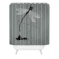 Matt Leyen Here There And Back Again Grey Shower Curtain