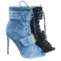 Barbara56 Peep Toe Combat Bootie w Belted Detail On Stiletto Heel
