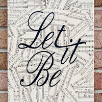 Vintage Sheet Music Canvas Wall Art  Let it Be  The by Stoic