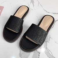 Christian Dior new product solid color pinhole letter logo ladies flat sandals beach slippers Shoes