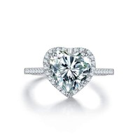 LaBelle 2.5CT Heart Cut Halo IOBI Simulated Diamond Sterling Silver Platinum Plated Ring for Women