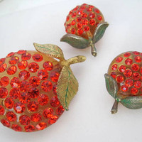 Vintage Orange  Forbidden Fruit Lucite Rhinestone Earrings Brooch Pin