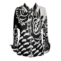 Lillie Rubin black and white accordion blouse