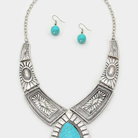 Antique Silver Tribal Turquoise Teardrop Necklace